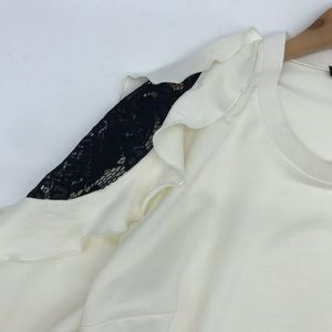 Lane Bryant Tops - Lane Bryant Black Lace Cold Shoulder Cream Top